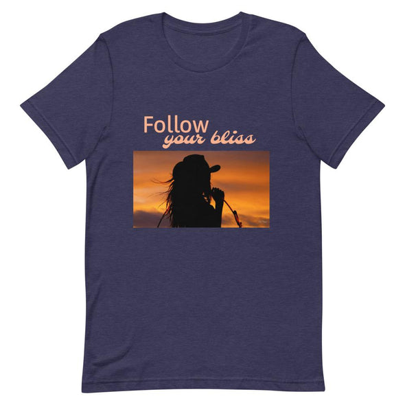 Short-Sleeve T-Shirt Follow Your Bliss Cowgirl Horse & Soul Western Wear Heather Midnight Navy XS