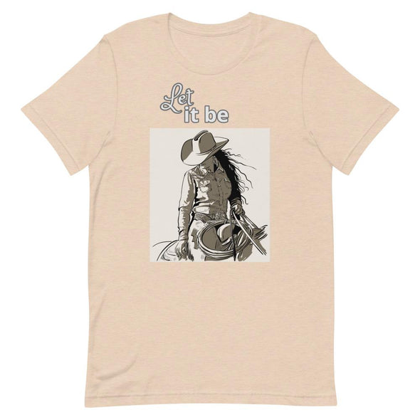 Short-Sleeve T-Shirt Let It Be Cowgirl Design Horse & Soul Western Wear Heather Dust S