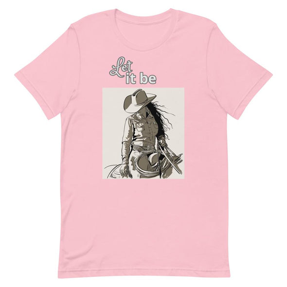 Short-Sleeve T-Shirt Let It Be Cowgirl Design Horse & Soul Western Wear Pink S
