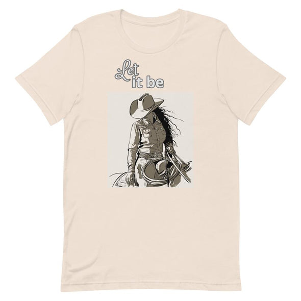 Short-Sleeve T-Shirt Let It Be Cowgirl Design Horse & Soul Western Wear Soft Cream S