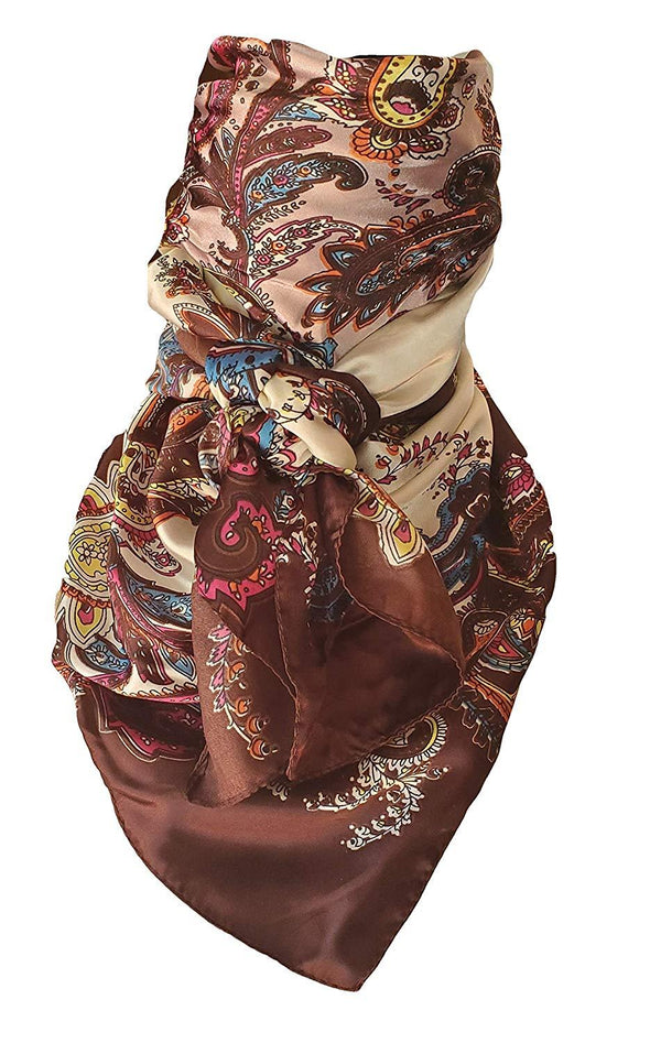 "Silky Paisley Wild Rag 35"" x 35"" Apparel Horse and Soul Western Wear Chocolate"