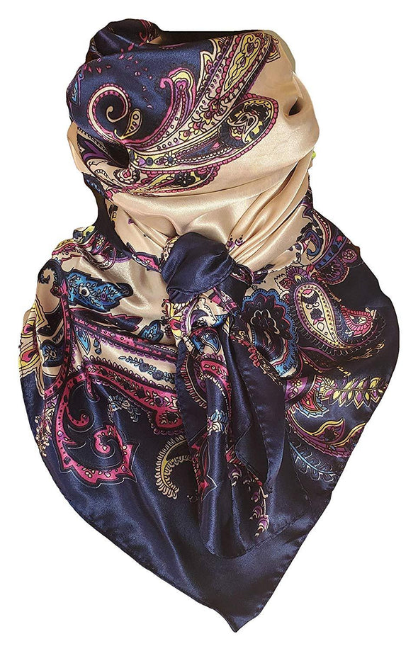 "Silky Paisley Wild Rag 35"" x 35"" Apparel Horse and Soul Western Wear Dark Blue"