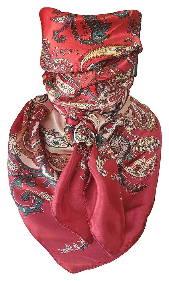 "Silky Paisley Wild Rag 35"" x 35"" Apparel Horse and Soul Western Wear Red"