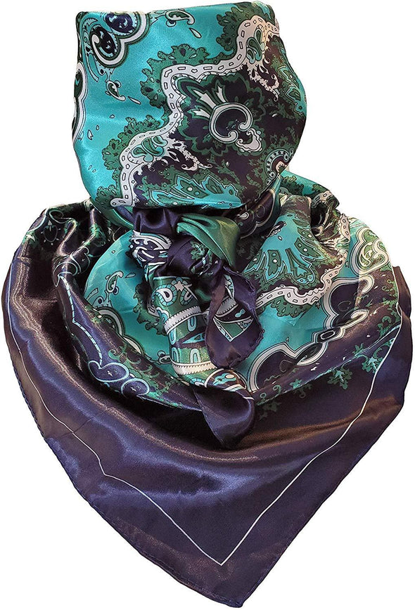 "Silky Paisley Wild Rag 35"" x 35"" Apparel Horse and Soul Western Wear Teal Green Blue Paisley"