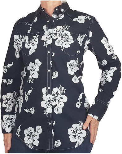 Womens Cotton Western Shirt with Long Sleeves and Snap Buttons Hibiscus Print Apparel Horse and Soul Western Wear Small