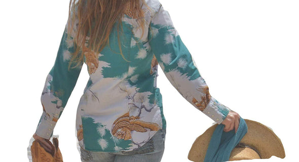 Womens Western Shirt Cotton Long Sleeves with Snap Buttons Hawaiian Print Apparel Horse and Soul Western Wear