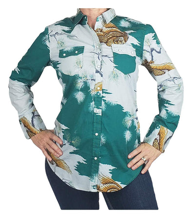 Womens Western Shirt Cotton Long Sleeves with Snap Buttons Hawaiian Print Apparel Horse and Soul Western Wear Small