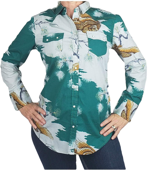 Womens Western Shirt Cotton Long Sleeves with Snap Buttons Hawaiian Print Apparel Horse and Soul Western Wear XX-Large