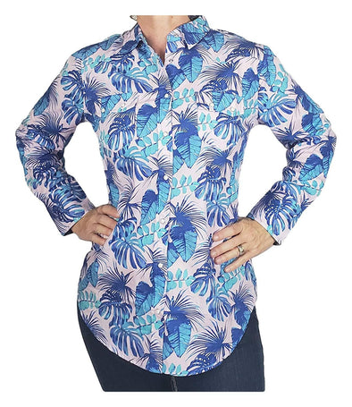 Womens Western Yoke Long Sleeved Snap Button Cotton Shirt Hawaiian Aqua Leaf Print Apparel Horse and Soul Western Wear Medium Aqua Leaf Print