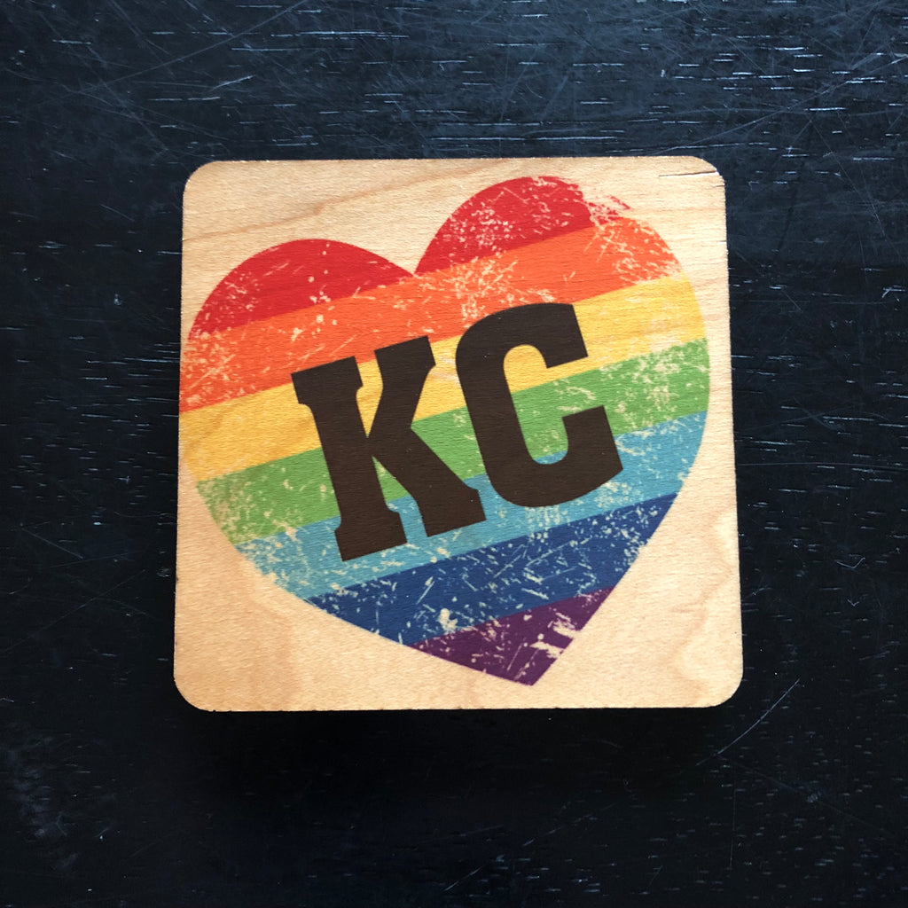 KC Pride Heart Striped Rainbow Wood Coaster