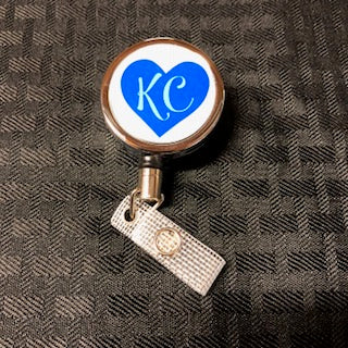 Premium Metal Badge Reel Blue KC Heart