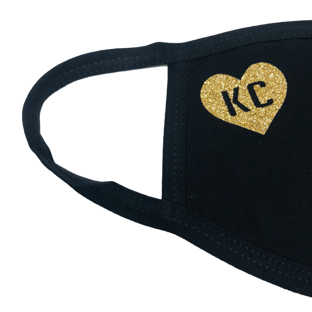 100% Cotton Mask Black with Bright Gold Heart KC