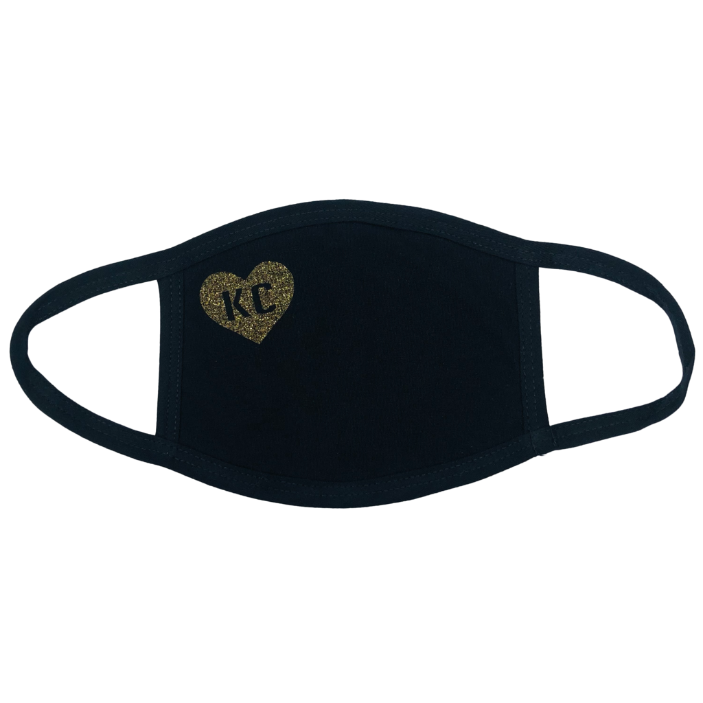 100% Cotton Mask Black with Smokey Gold Heart KC