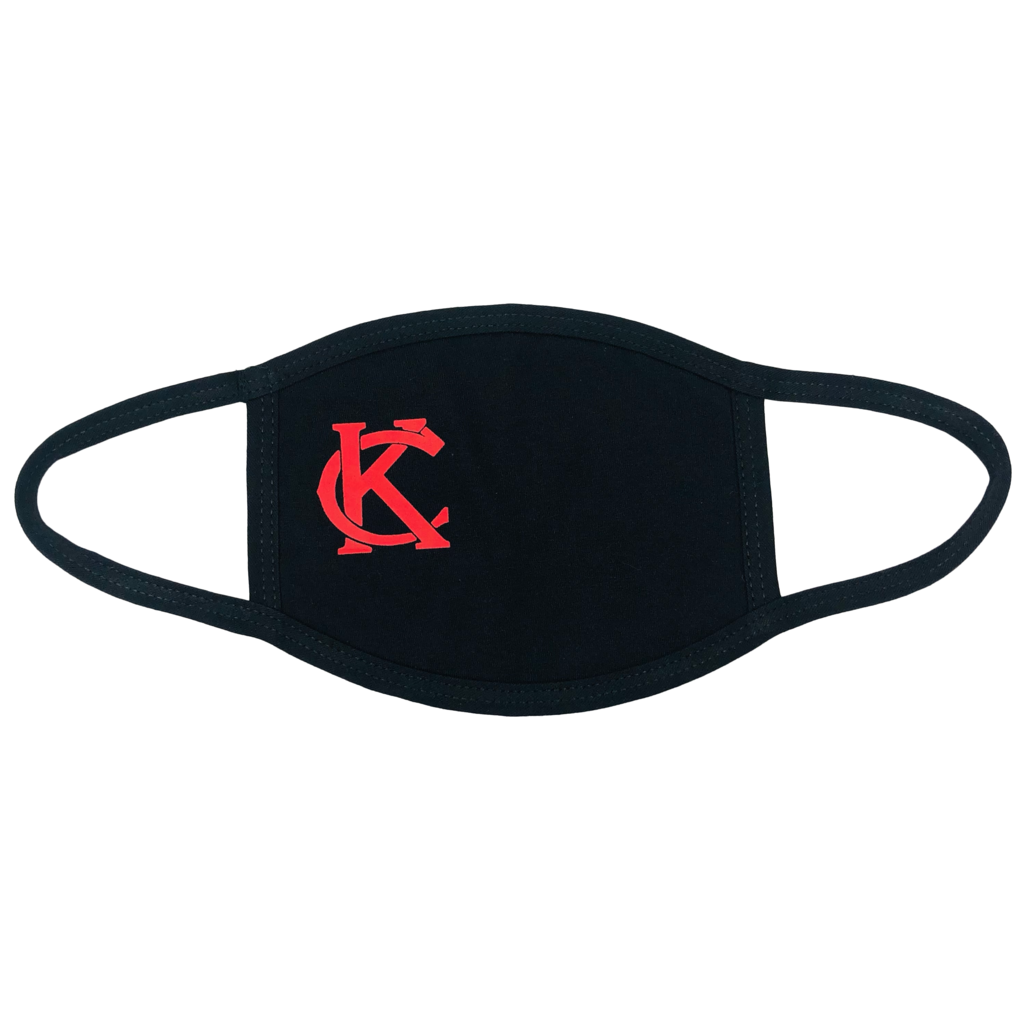 100% Cotton Mask Black with Red KC