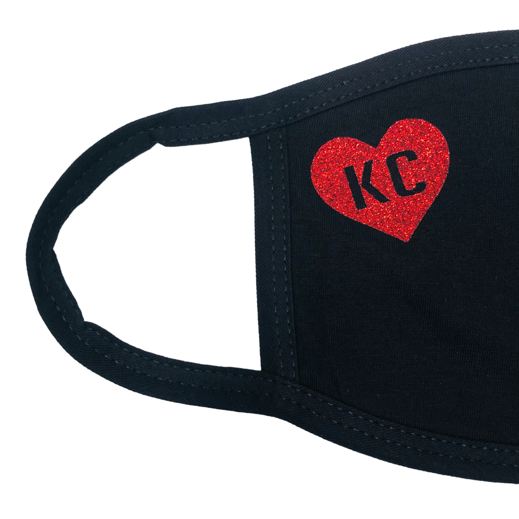 100% Cotton Mask Black with Red Heart KC
