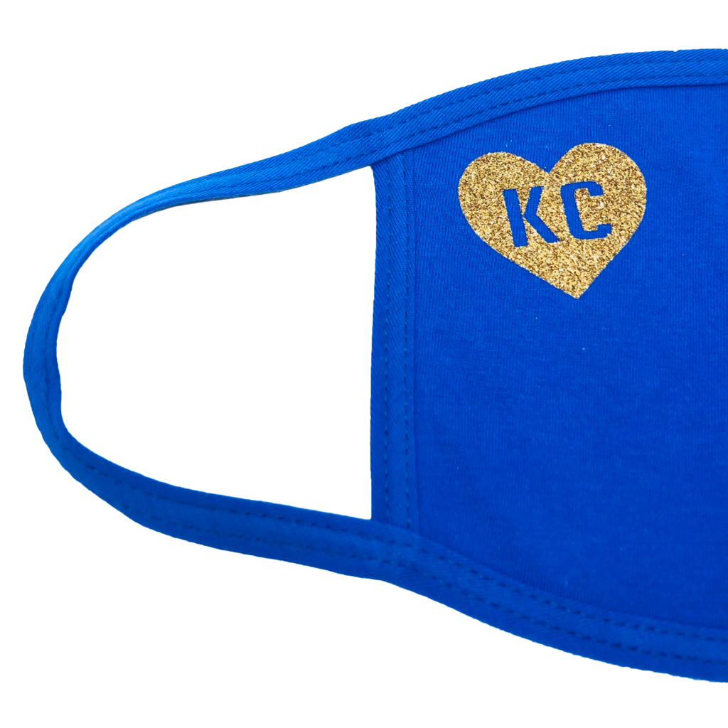 100% Cotton Mask Blue with Gold Heart KC