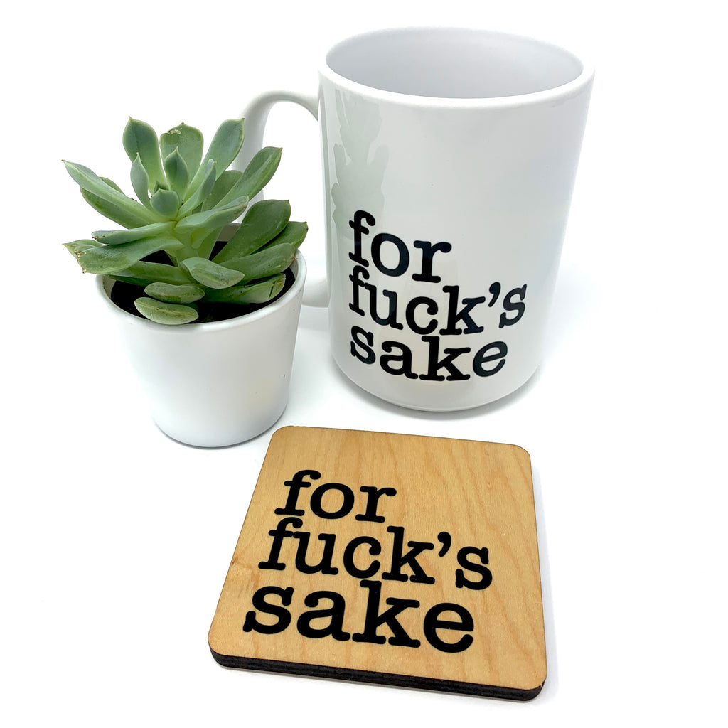 For Fuck's Sake coffee mug and coaster set
