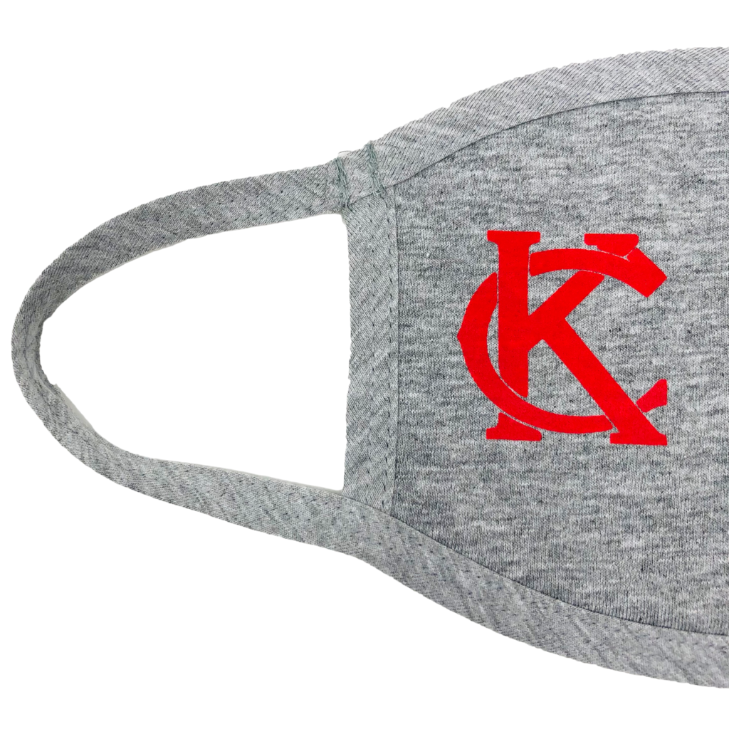 100% Cotton Mask Light Grey with Red KC