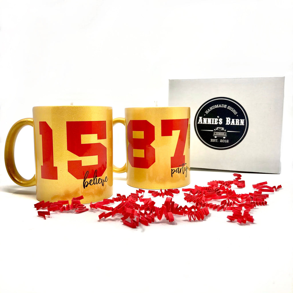 Kansas City 15 and 87 Gold Mug Candle Set