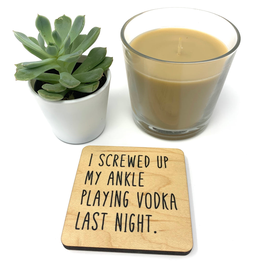 Vodka. Wood Coaster