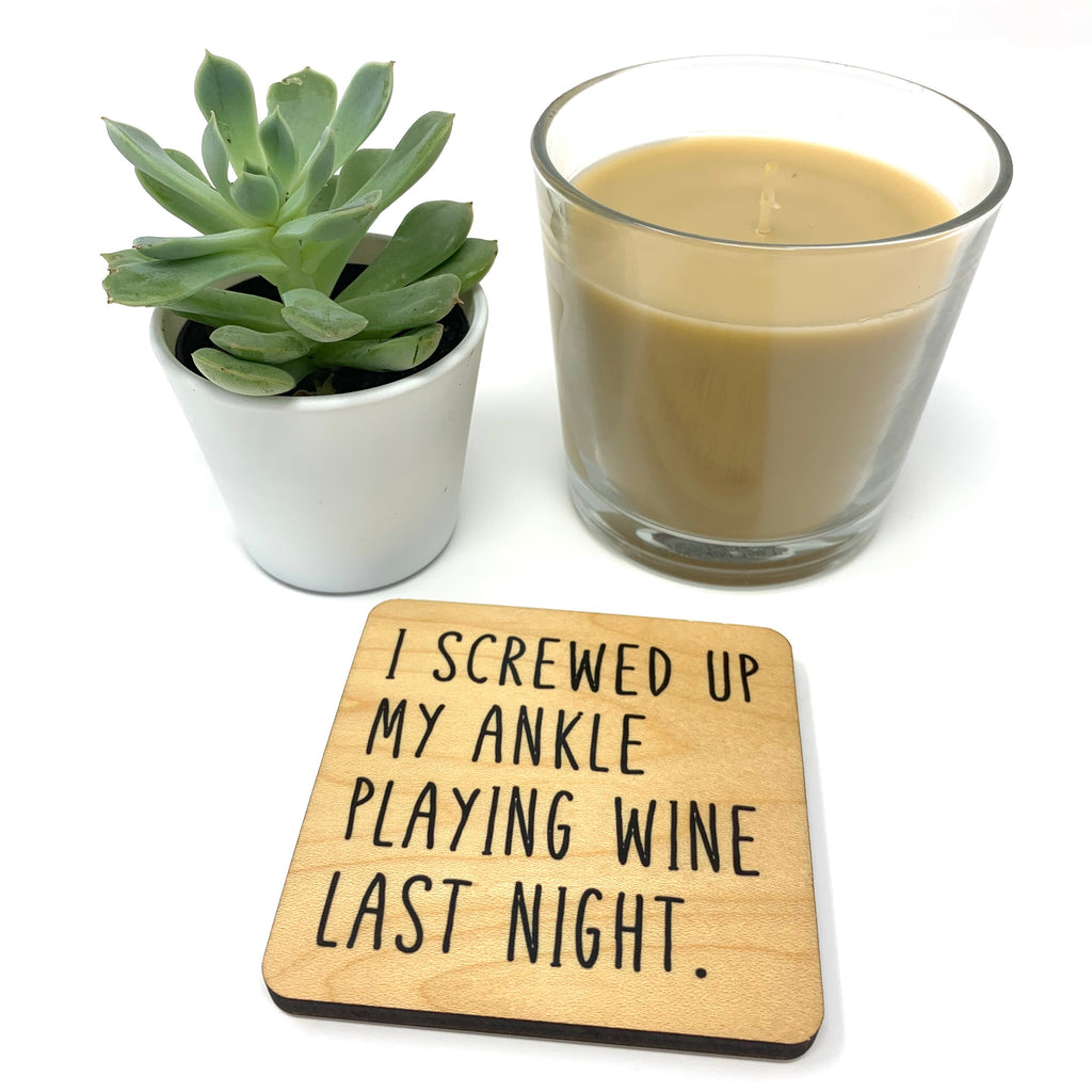 Wine. Wood Coaster
