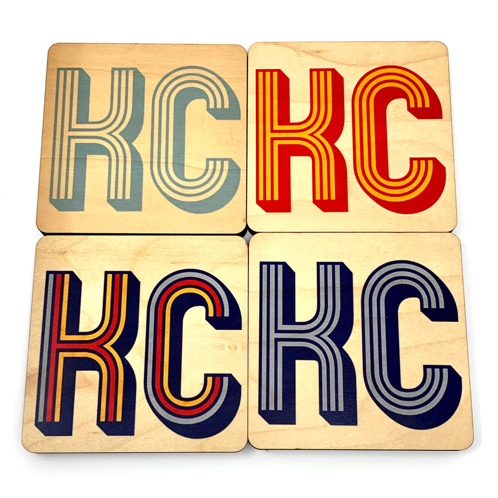 KC Retro VIBE wood coaster set representing colors of our city