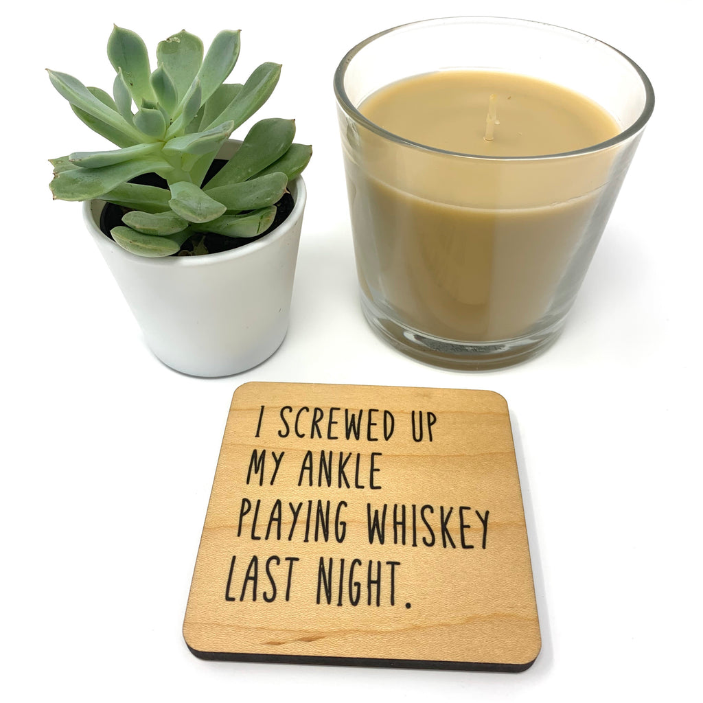 Whiskey. Wood Coaster