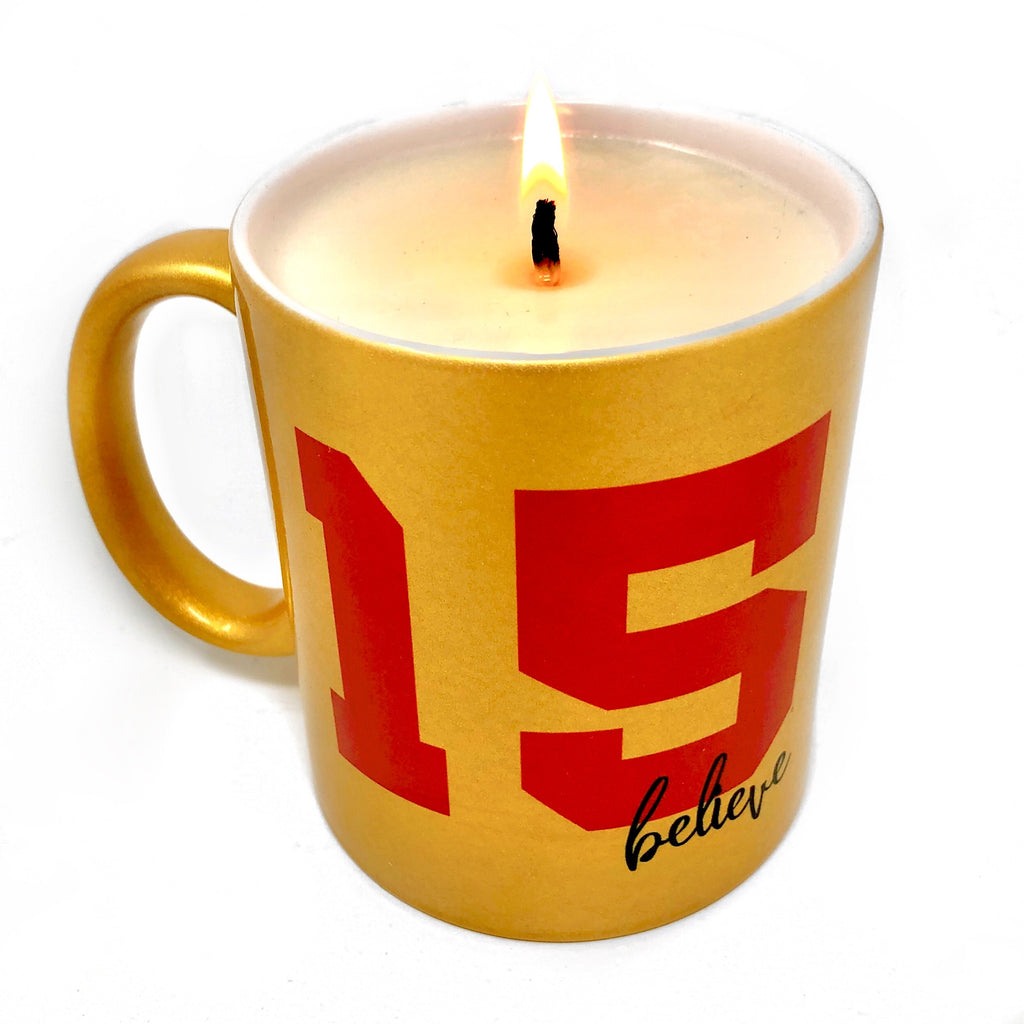 Kansas City 15 Gold Mug Football Candle