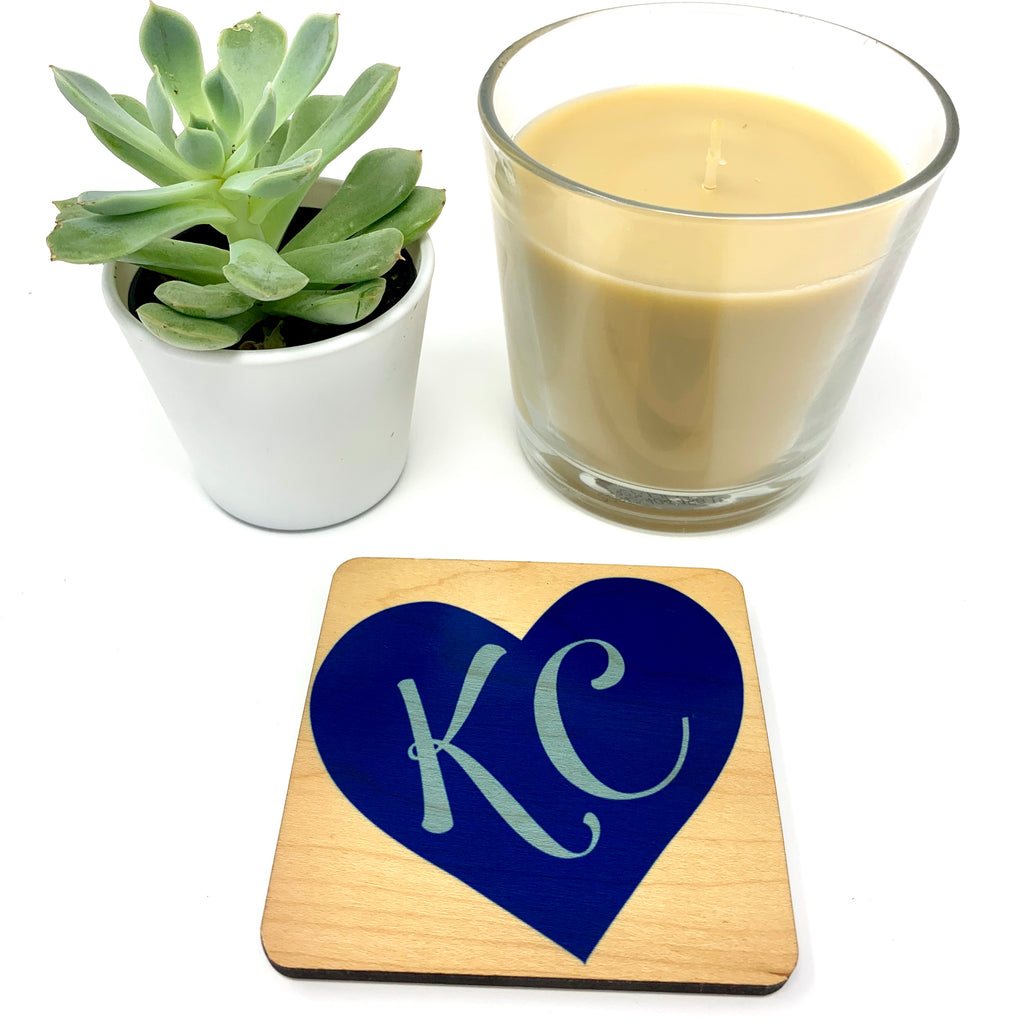 KC (regular blue heart) Coaster