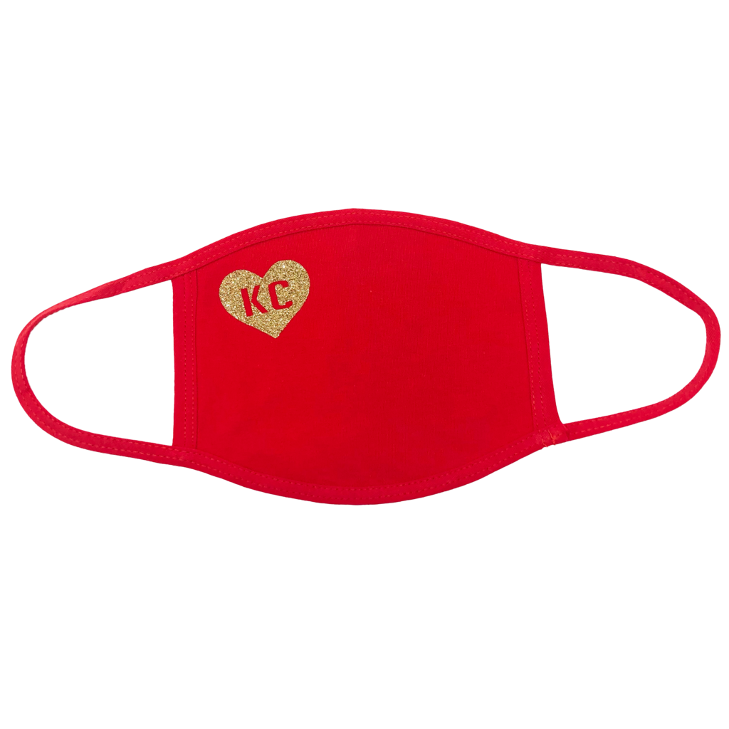 100% Cotton Mask Red with Gold Heart KC