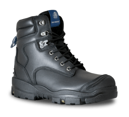 "Bata Longreach SC - Black Leather 6"" Lace Up Safety Boot (Scuff Cap)"