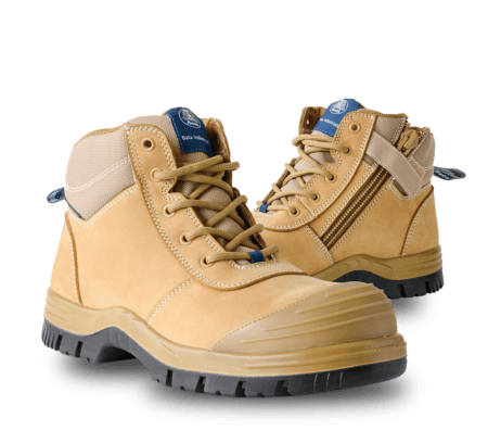Bata Naturals ZIPPY Wheat Nubuck Zip / Lace Safety Boot