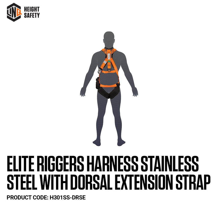 Elite Riggers Harness Stainless Steel With Dorsal Extension Strap cw Harness Bag (NBHAR) - Dynaton Australia