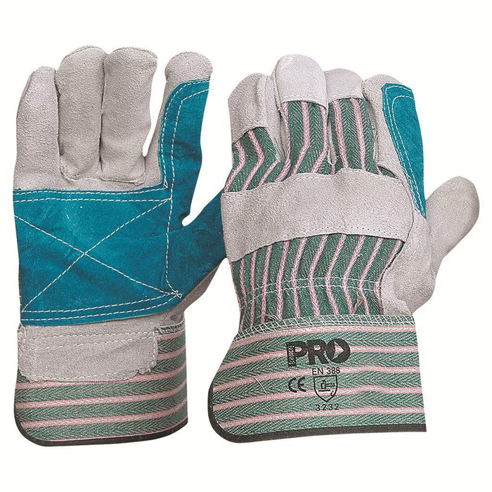 ProChoice Green & Grey Striped Cotton / Leather Gloves Large