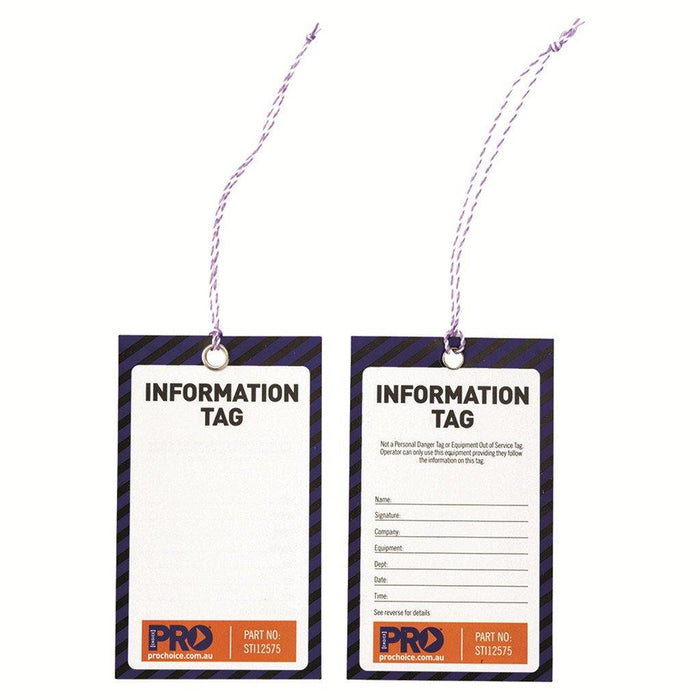 ProChoice Safety Tag -125mm X 75mm Information (Blank) (Pack of 100)