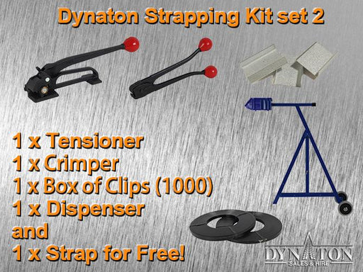 19mm Steel Strapping Kit 2: Tensioner, Crimper, Box of clips, Dispenser.