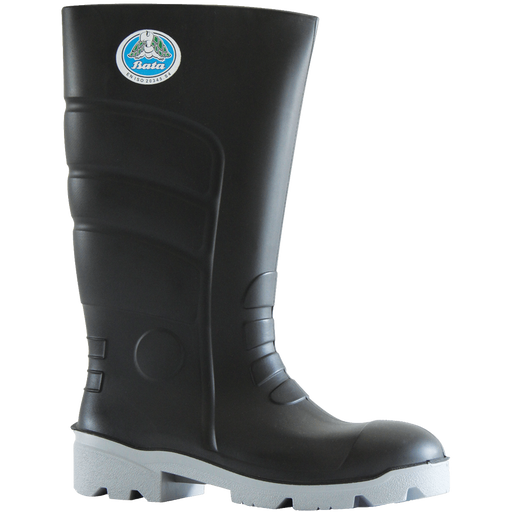 Bata Worklite Black / Grey PU 400mm Safety Toe Gumboot - Available Sizes: UK 3-14 + 9.5 Only