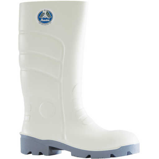Bata Worklite White / Grey PU 400mm Safety Toe Gumboot - Available Sizes: UK 3-14 + 9.5 Only
