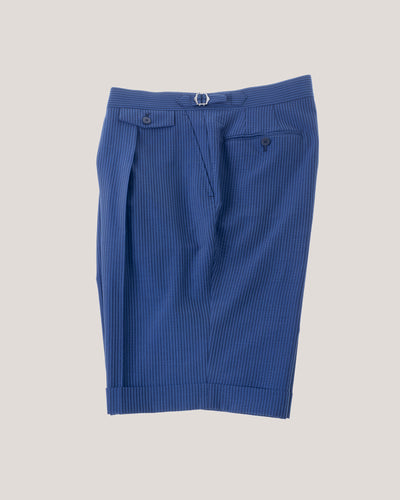Seersucker shorts-Blue on blue
