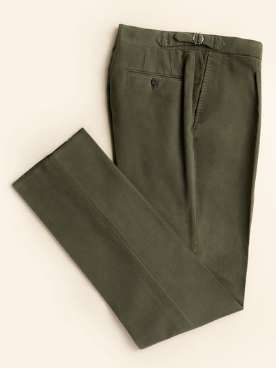 Moleskin cashmere and cotton green