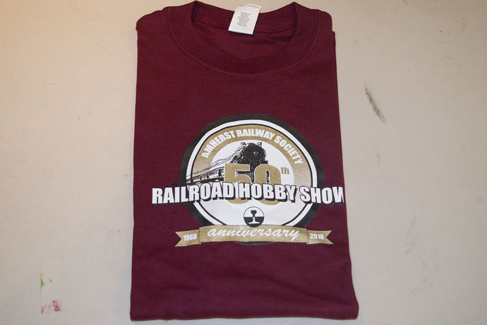 Amherst Railway Society Railroad Hobby Show 50th Anniversary Adult Maroon T-Shirt