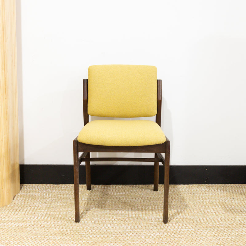 Dark Wood Mustard Felt Chair
