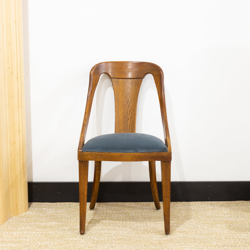 Oak Chair Blue Velvet Seat
