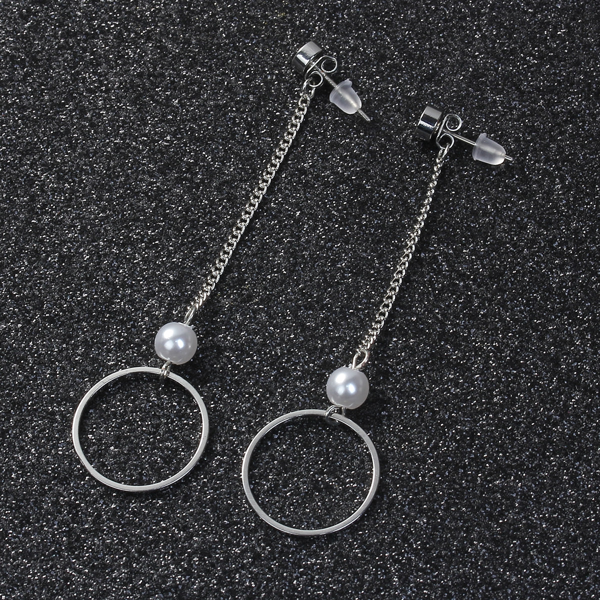 Dangle earrings with circle/hexagon