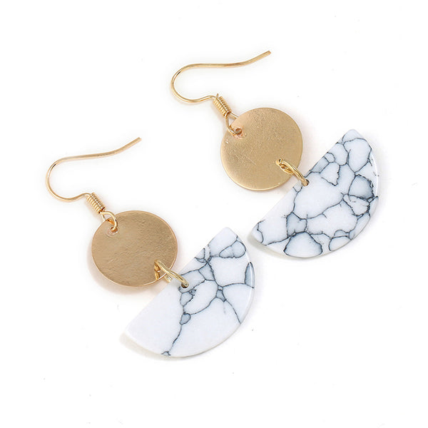 Love moon elements faux marble earrings