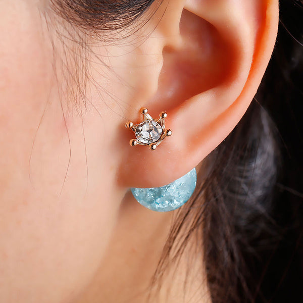 Turquoise Princess gold double-sided earrings