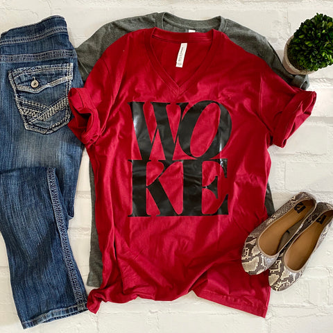 WOKE (stacked) -Vneck