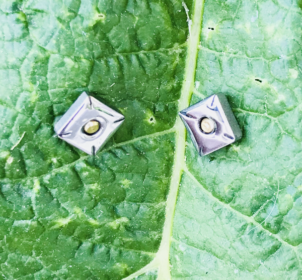 SQUARE Earrings two-tone silver and gold