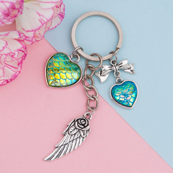 Mermaid Keychain with Hearts Bow & Angel Wing