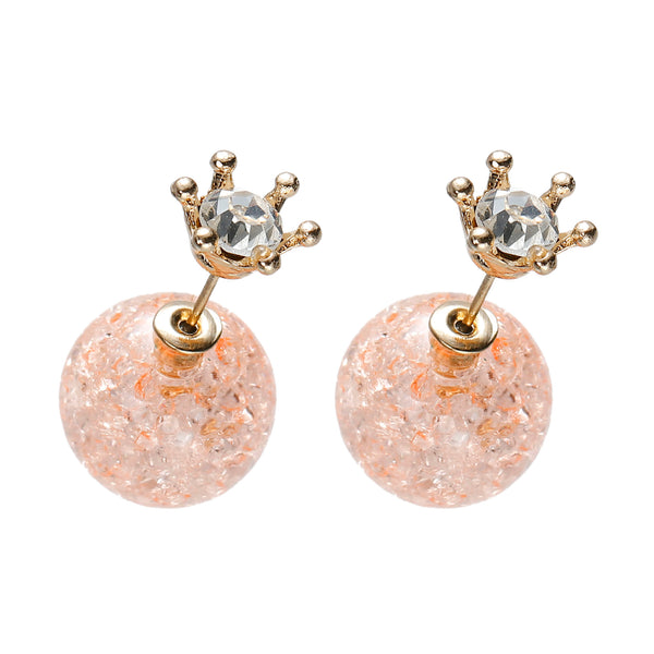 Coral Princess gold double-sided earrings